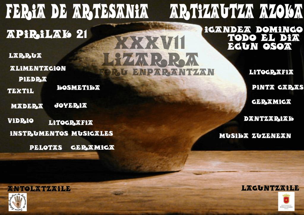Cartel XXXVII Feria Artesanía de Semana Santa Estella-LIzarra 2019-Artesanía y estado de alarma sanitaria